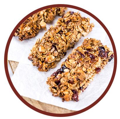 Barres protéinées, noix et fruits séchés