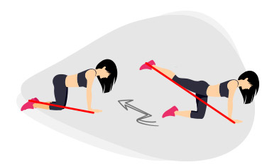Kick arrière avec un élastique