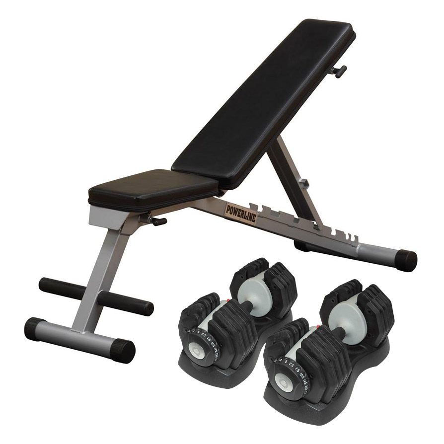 Bodysolid Paire EZ Dumbells 25 kg et Banc incliné décliné pliable