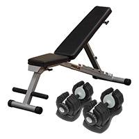 Banc de Musculation Paire EZ Dumbells 25 kg et Banc incliné décliné pliable