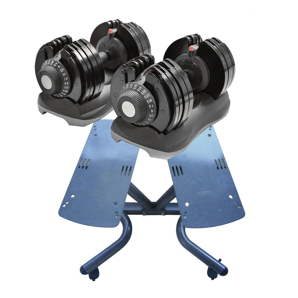 Bodysolid Paire d'haltère réglable 5 kg à 32,5 kg avec support