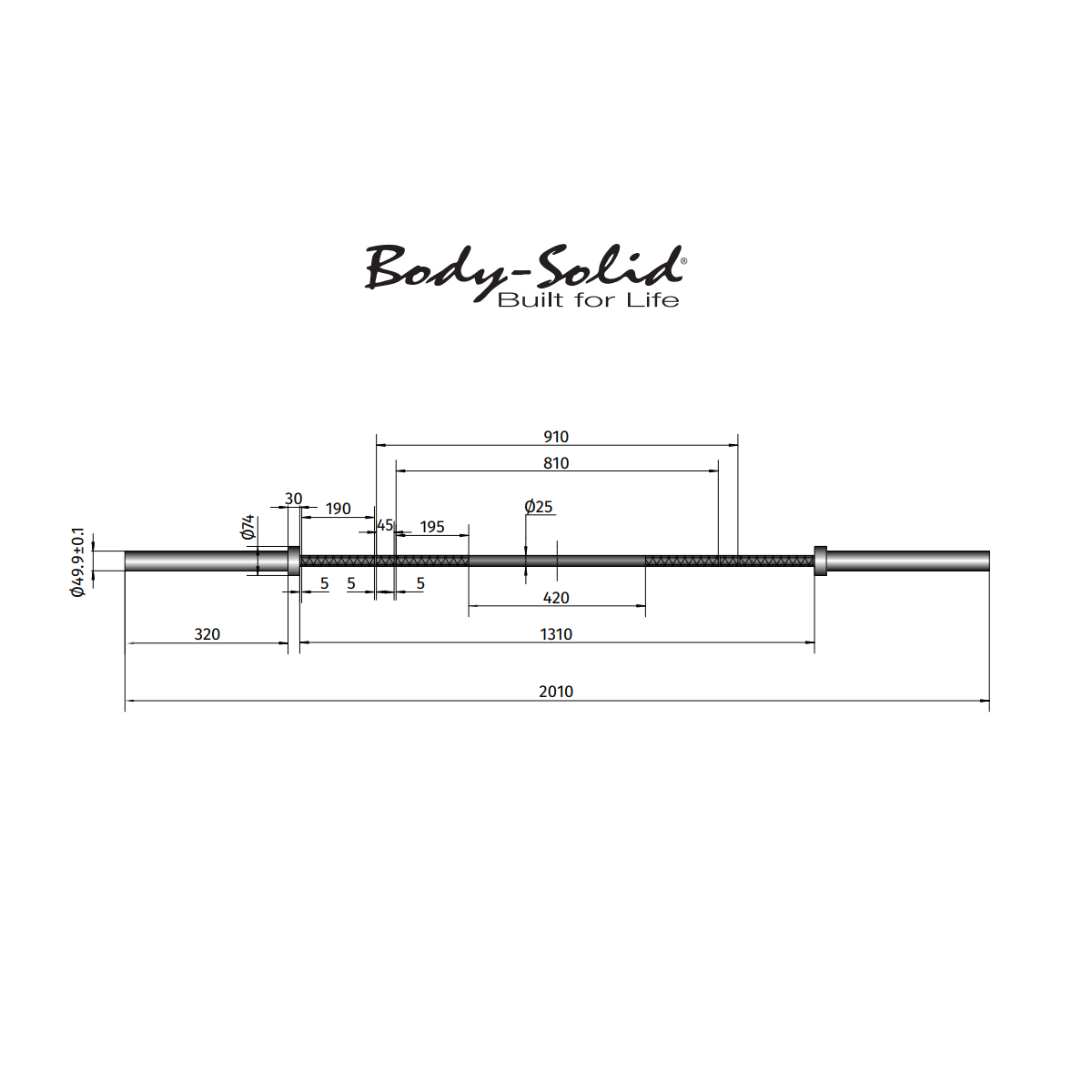 Détails Bodysolid Barre Crosstraining 220 cm 15 kg Femme