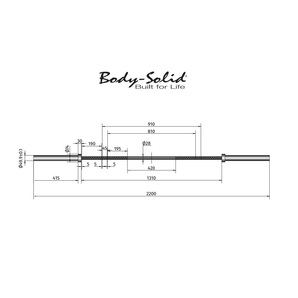 Détails Bodysolid Barre Crosstraining 220 cm 20 kg Homme