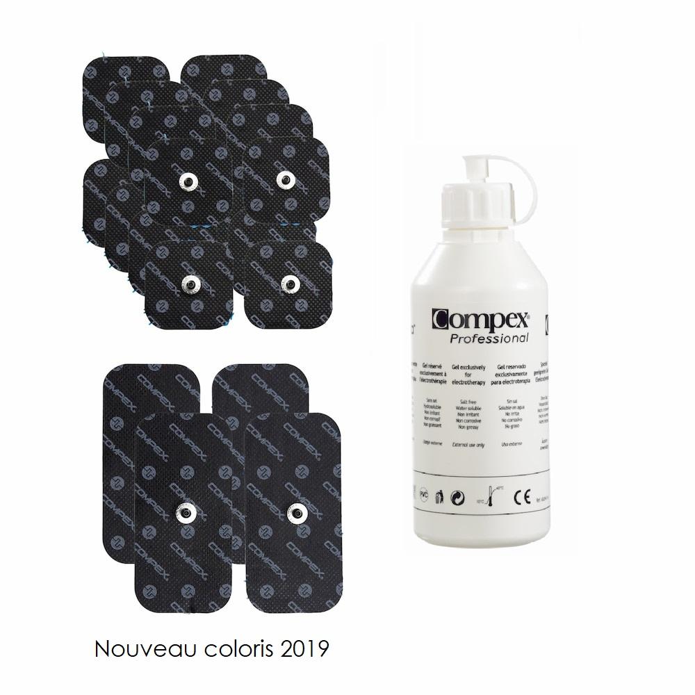 Compex Pack 6 sachets d'électrodes EasySnap + gel