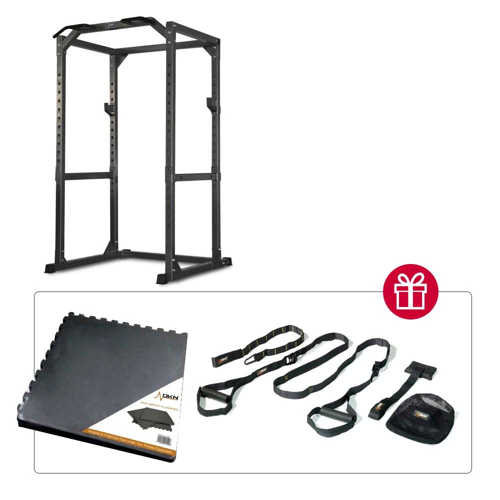 DKN Power Rack + Lot de 6 dalles et Suspension Trainer offerts