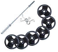 Olympique - Diamètre 51mm Pack Barre, Stop Disques, Disques Caoutchouc 160 kg