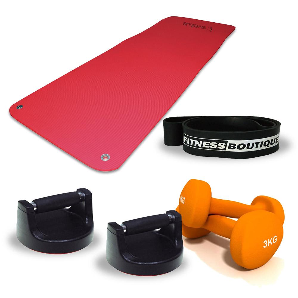 Fitnessboutique Pack Elastiband, Paires d'haltères 3 kg, Tapis de sol et Push up
