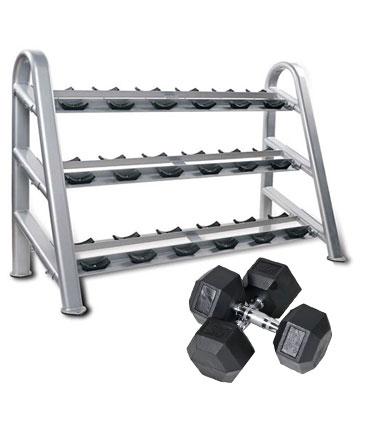 Heubozen Pack Haltères Hexagonaux 12 à 30 kg et Rack 3 Niveaux
