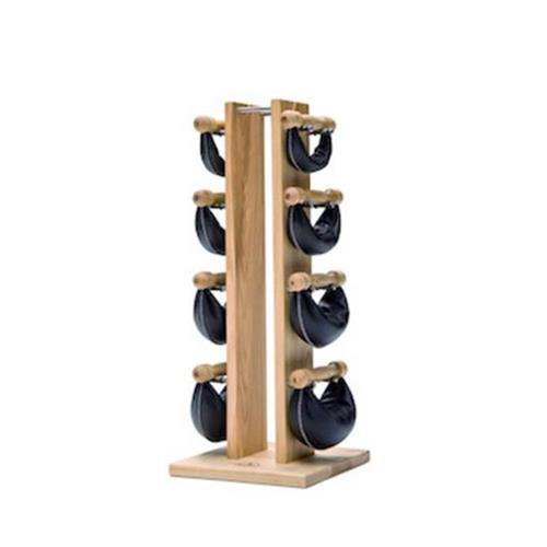 Support et Rack de Rangement Tour Frêne avec poids cuir noir