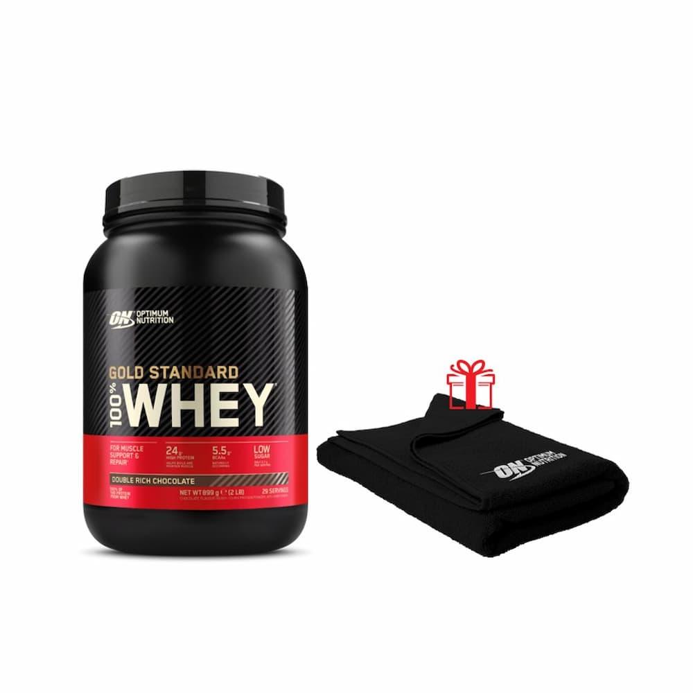 Optimum nutrition Pack Gold Standard 100% Whey + Serviette ON offerte