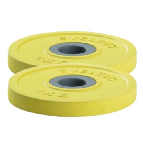 Standard - Diamètre 28mm Sveltus Paire de disques 1kg couleur jaune